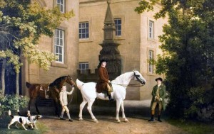 Stubbs, 3rd Duke of Portland riding out past the Riding School at Welbeck Abbey