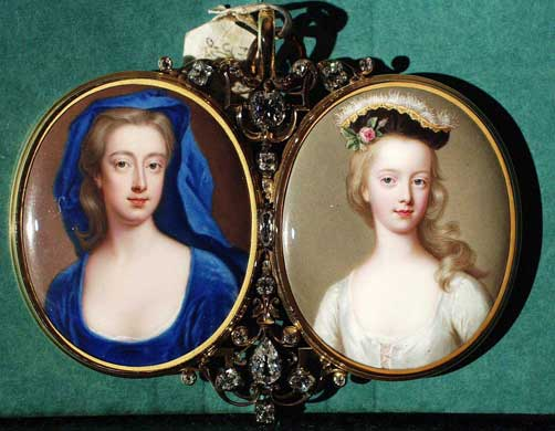 Edward Harleys wife Lady Henrietta with her daughter Lady Margaret, Enamels in a gold frame set with diamonds, Zincke, 1725