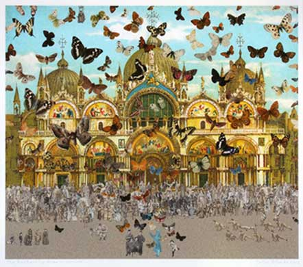 The Butterfly Man - Venice (in homage to Damien Hirst). Image copyright Peter Blake, Courtesy of Waddington Custot Galleries