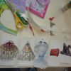 Goggle eyed creatures made in a children's art workshop
