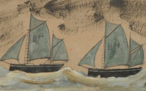 Outsider Art exhibition // Alfred Wallis (1855-1942), Two Boats, circa 1930.
